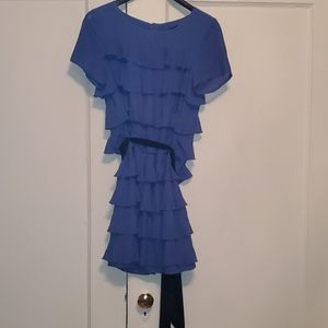 H&M periwinkle 8 ruffle dress with black tie belt